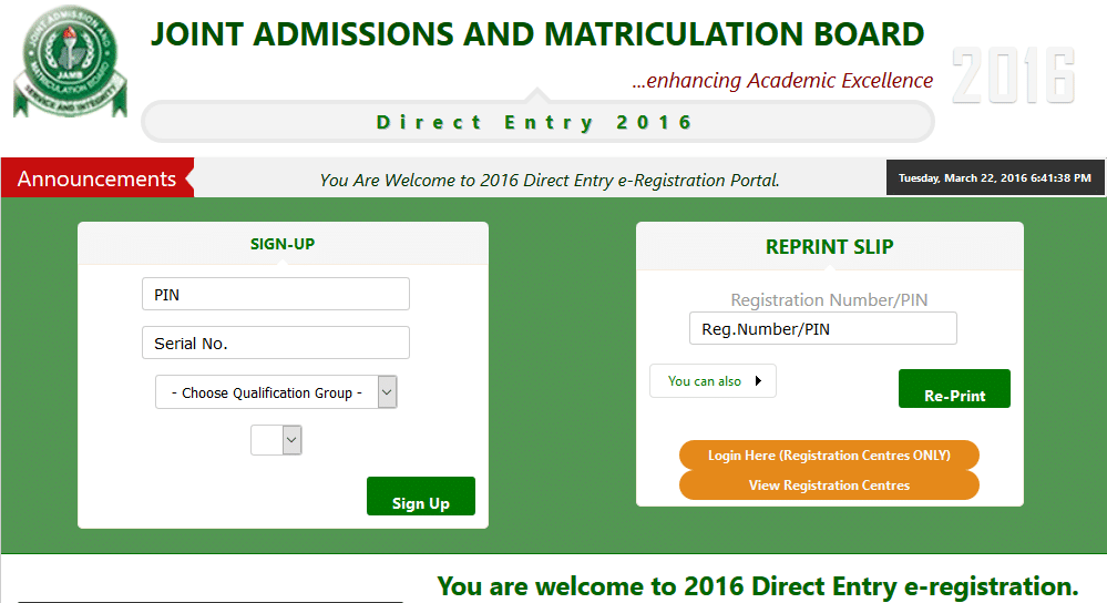 jamb direct entry form 2016