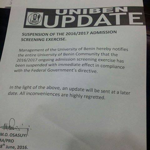 UNIBEN Suspends Ongoing Admission Screening For 2016/2017