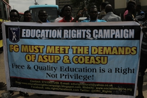 ASUP Strike: Nigerian Polytechnics And Colleges Of Education Students Protest In Lagos Over lingering Strike