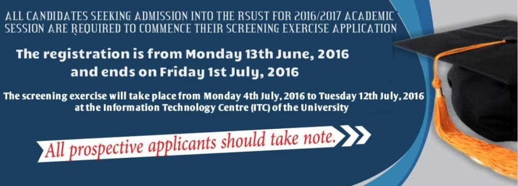 RSUST Admission Screening Details
