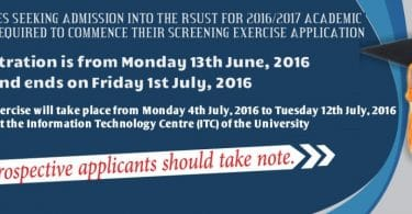 RSUST Admission Screening Details