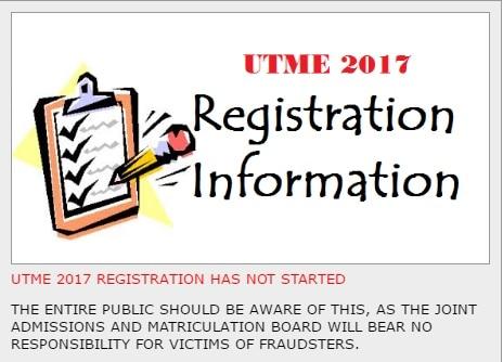 JAMB UTME Registration 2017/2018