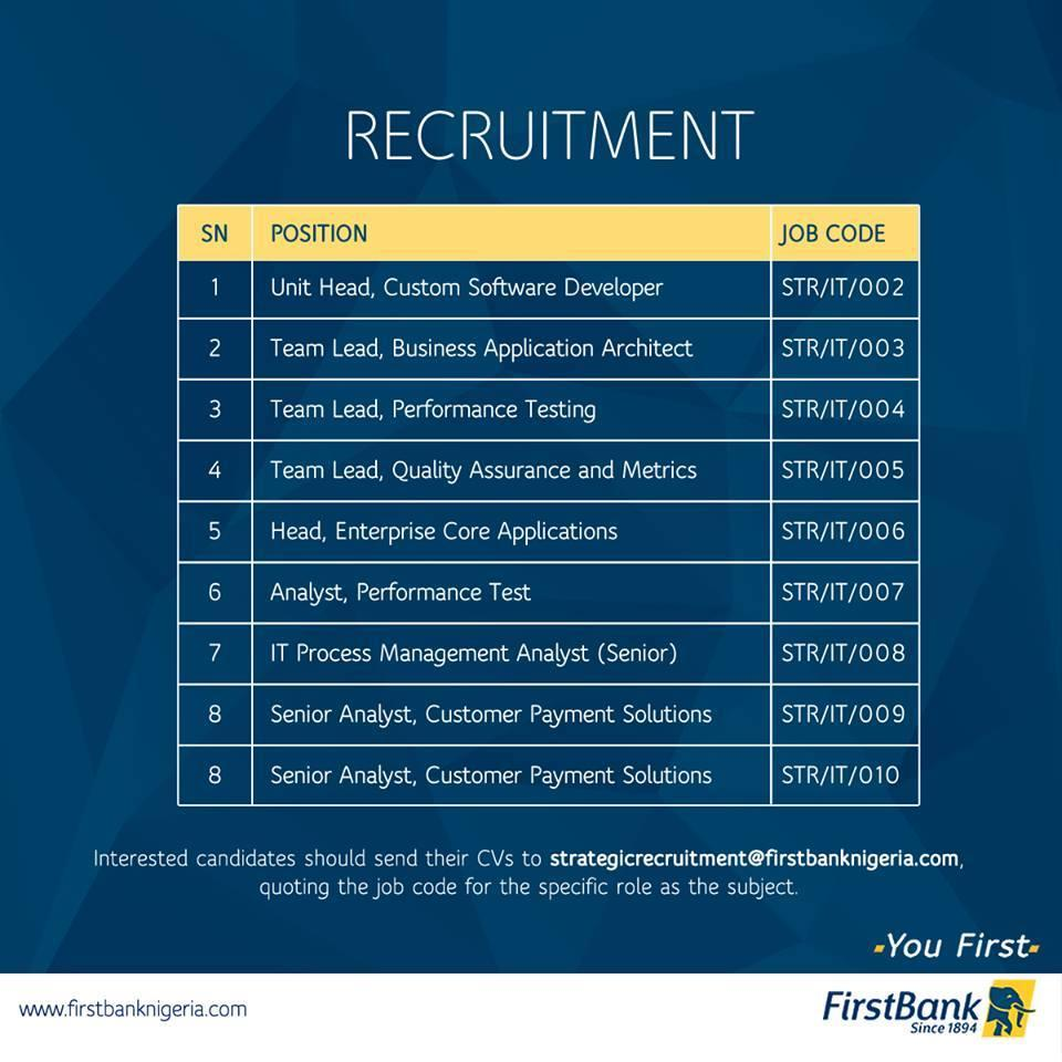 first bank nigeria careers recruitment