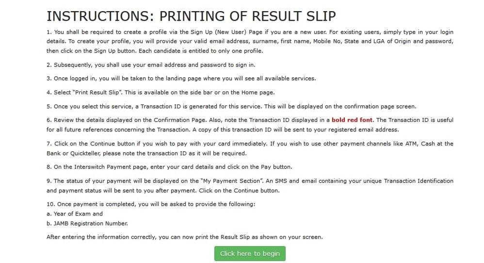 jamb result slip reprinting