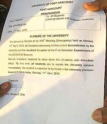 uniport shut down indefinitely following students' protest