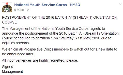 NYSC postpones 2016 Batch 'A' (Stream II) Orientation course