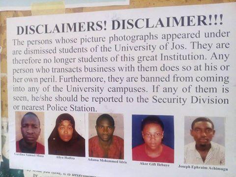 unijos expels students