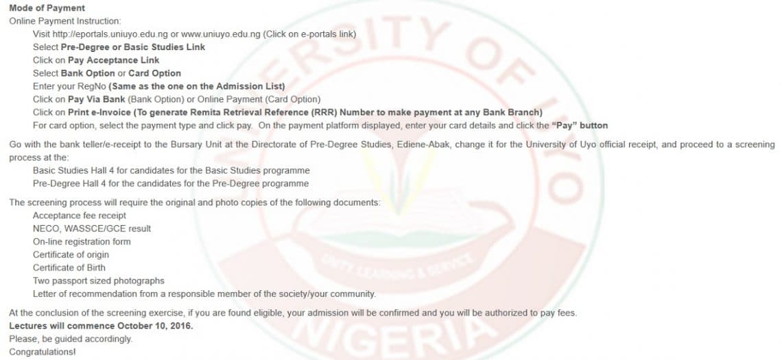 UNIUYO Pre Degree/Basic Studies Admission List Released - 2016/2017