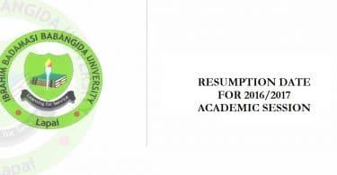 Ibrahim Badamasi Babangida University, Lapai, ibbu resumption date