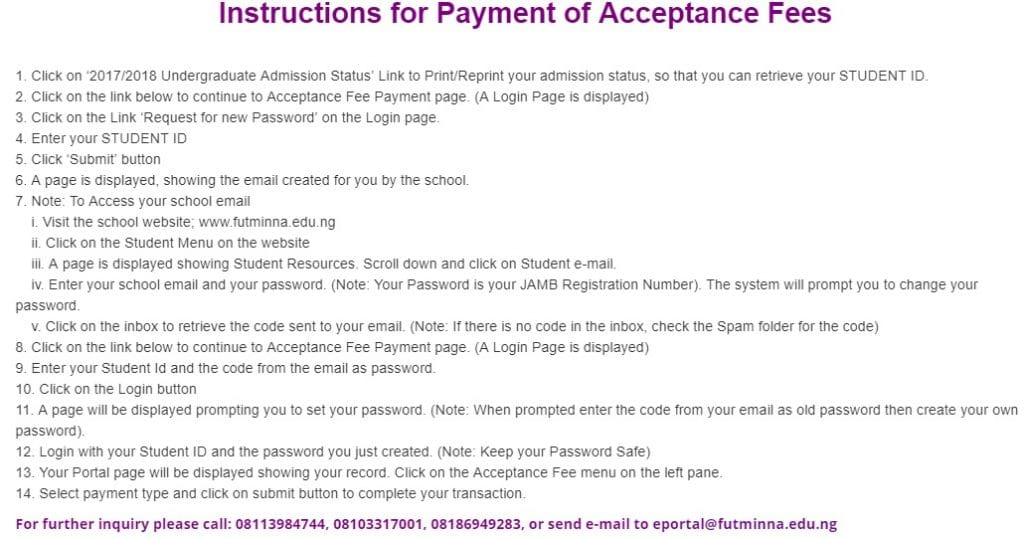 futminna acceptance fee payment