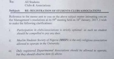 Katsina State University says only Muslim students associations are allowed on campus (photo)