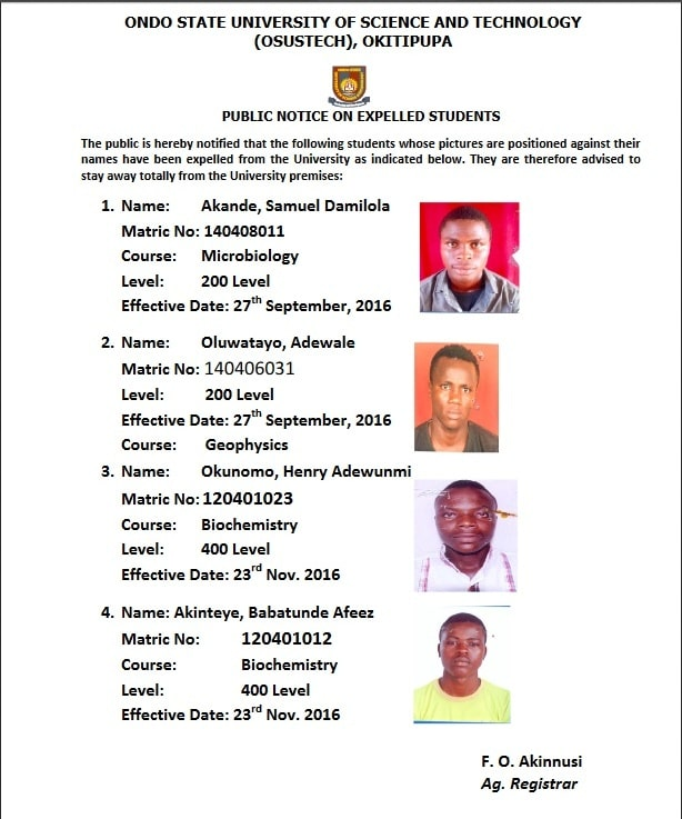 OSUSTECH Releases Names Of Expelled Students