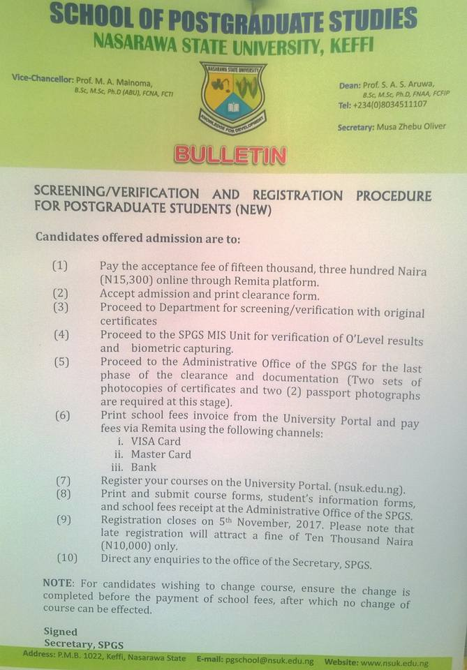 NSUK Postgraduate Screening and Registration Procedures