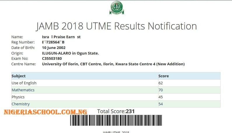 jamb 2018 results