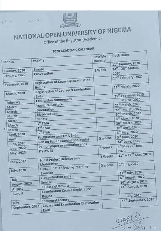 noun academic calendar