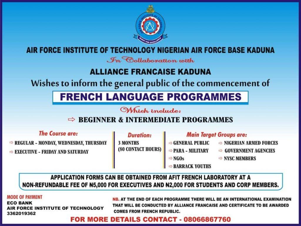 afit french language programmes admission form