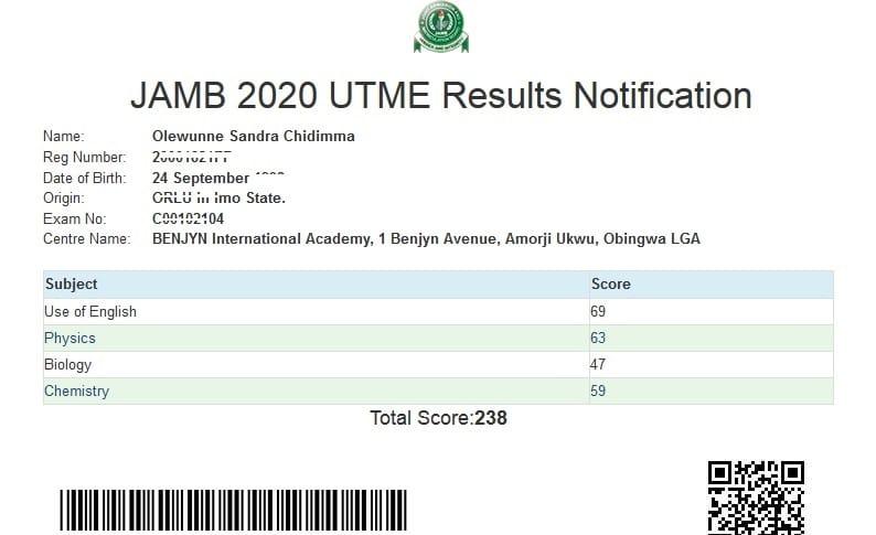 JAMB 2020 UTME Result